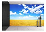 wall26 - Wheat Field and Blue Sky with Clouds - Removable Wall Mural | Self-Adhesive Large Wallpaper - 100x144 inches