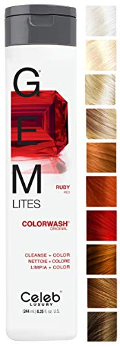 Celeb Luxury Gem Lites Colorwash: Ruby Red, Color Depositing Shampoo, 10 Traditional Colors, Stops Fade in 1 Quick Wash, Cleanse + Color, Sulfate-Free, Cruelty-Free, 100% Vegan