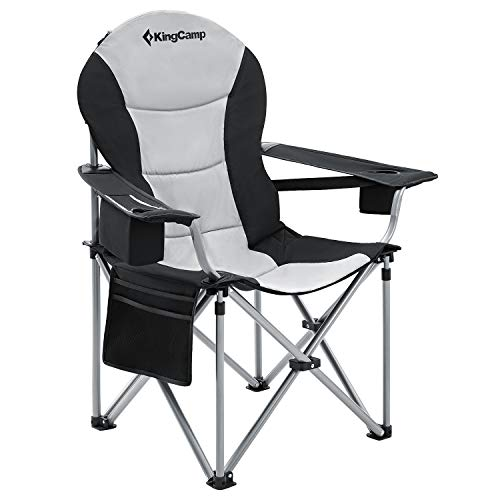 KingCamp Camping Chair Heavy Duty Lumbar Back Support Oversized Quad Arm Chair Padded Folding Deluxe with Cooler Armrest Cup Holder, Supports 350 lbs