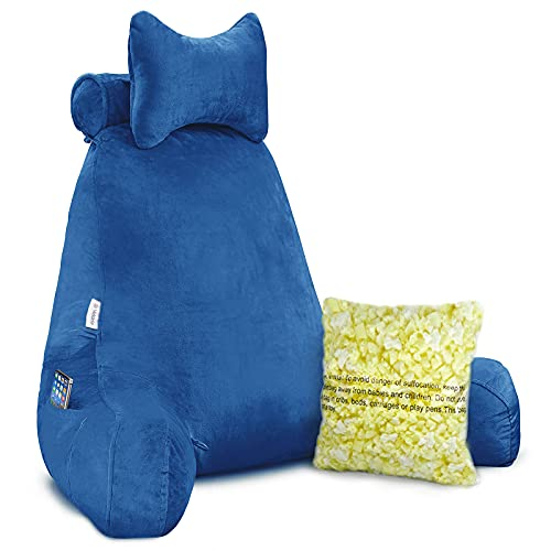 """Vekkia Premium Soft Reading amp Bed Rest Pillow with Higher Support Arm Pocket Free Neck Pillow Back Support for Reading/Relaxing/Watching TV  Extra Foam Incl24"""" Blue"""