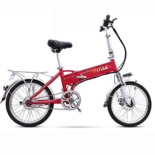 Hxl Elektrische fiets, volwassenen, vrouwen, mannen, 240 W, met uitneembare 48 V lithium-ion ultralichte draagbare elektrische reisfiets met schijfremmen