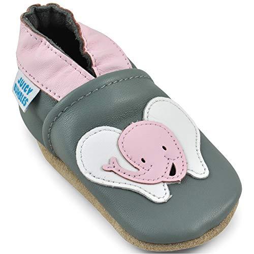 Juicy Bumbles Lauflernschuhe - Krabbelschuhe - Babyhausschuhe - Lächelnder Elefant - 6-12 Monate (Größe 20/21)
