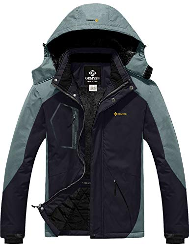 GEMYSE wasserdichte Skijacke für Herren Winddichte Fleece Outdoor-Winterjacke mit Kapuze (Schwarzgrau,XL)
