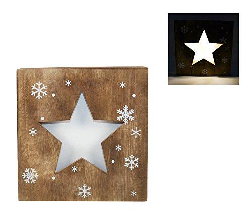 'Tableau en Bois étoile de noël 12 LED en Bois avec Fonctionnement à Piles – 25 x 25 cm