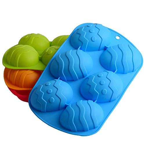 Hainice Molde de Pastel, Pastel de Pascua en Forma de moldes de Silicona Moldes Huevos de Pascua Molde del jabón Herramienta de decoración para Hornear con 6 cavidades para Pastel de