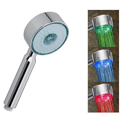 Alcachofa de ducha manual LED luz temperatura controlada con 3 colores cambiantes para baño