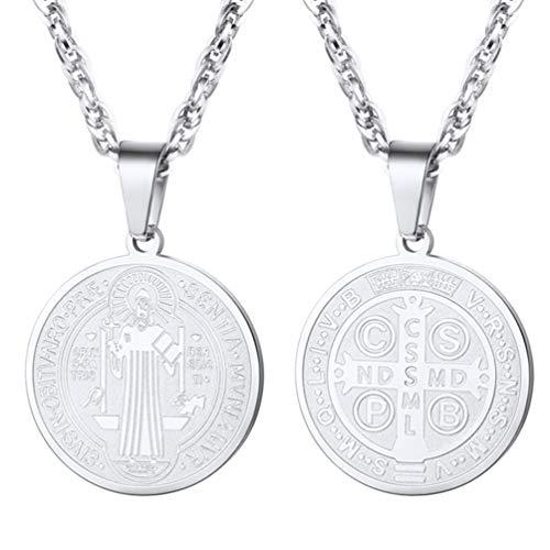 Medalla de San Benito Colgante Religioso con Cadena Cubana de Acero Inoxidable Tono Plata