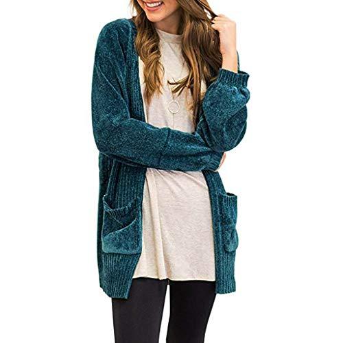 Auifor vrouwen trui met lange mouwen met open voorkant en zakken gemaakt van zacht fluweel met Chenille-gebreide jas
