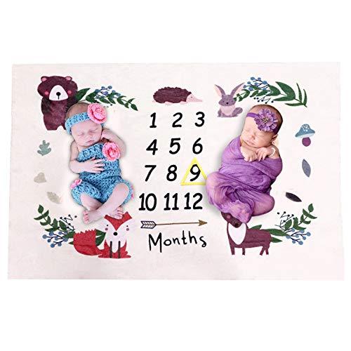 BOBISAMA ベビー毛布 寝相アート 双子 撮影シーツ ベビー撮影毛布 敷物 百日記念 月齢フォト 成長記録 背景布 多機能 柔らかい かわいい 写真道具 新生児 赤ちゃん おくるみ 毛布 出産祝い フレーム付き