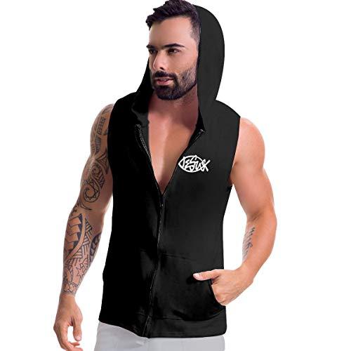 Eeersskjzl Jesus Fish Christian Men's Sleeveless Hoodie Gym Bodybuilding Tank Tops Hip Hop Hoodies Shirts