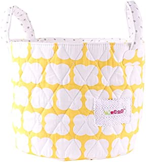 Minene Small Yellow Clouds with Grey Dots Fabric Storage Basket Organiser with Handles