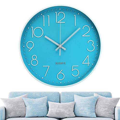 Jeteven 30cm Rund Wanduhr Modern Quarz Wanduhr Ohne Tickgeräusche für Wohnzimmer,Kinder,Büro Wohn,Schlaf, Büro Cafe und Restaurant Blau