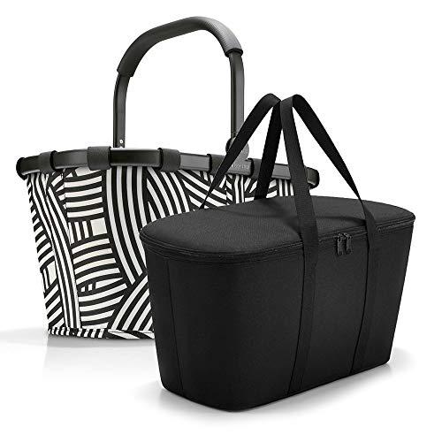 reisenthel, Set aus carrybag BK + coolerbag UH, BKUH, Einkaufskorb mit passender Kühltasche, Frame Zebra + Black