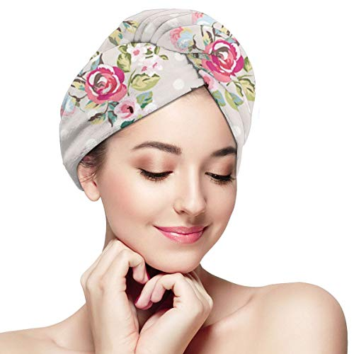 Flowers Wave Point Wallpaper Dry Hair Cap Microfibre Hair Towel Wraps Ultra Absorbent Quick Dry Twist Turban with Button for Drying Curly Long Thick Hair 11¡± X 28¡±