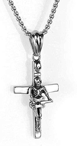 ZJJLWL Co.,ltd Collar de Acero Inoxidable joyería Collar de Hombre Calavera Punk Cruz de Guitarra Colgante de Acero de Titanio Collar de Regalo
