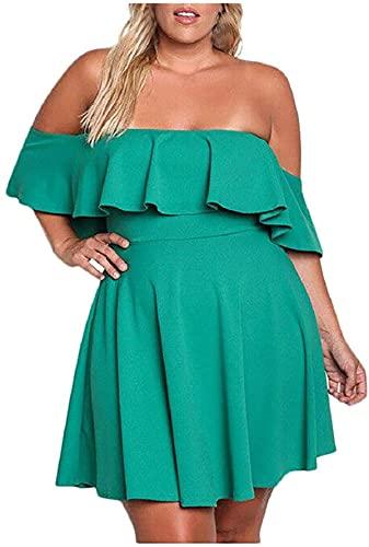 Damen Schulterfreies Minikleid, reine Farbe, Rüschen, A-Linie, Schlitz-Ausschnitt, lässiges Abendkleid, Übergröße, XL-5XL Gr. 46, grün