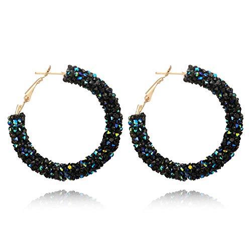 BLINGBRY Bohemia Helix Oor Kristal Hoop Oorbel Voor Vrouwen Grote Cirkel RVS Ronde Doorboord Earing Wit Bruiloft Sieraden