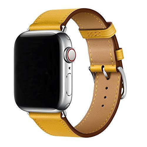 XCool Kompatibel mit Apple Watch Armband 38mm 40mm, Leder Gelb Armbänder für iwatch SE Series 6 Series 5 Series 4 Series 3