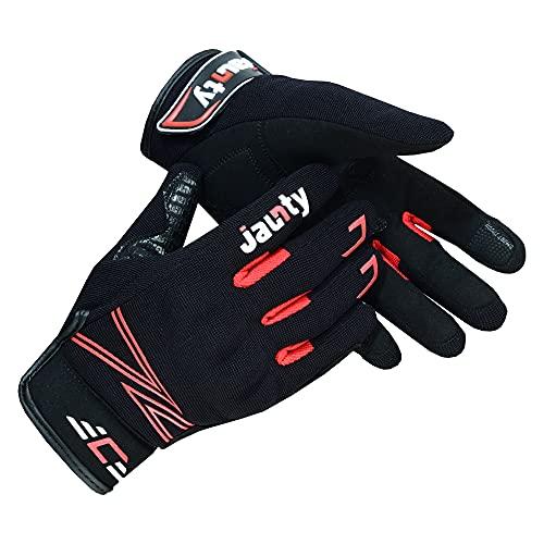 JAUNTY Professionelle Motorradhandschuhe Sommer Knöchelschutz Atmungsaktive Smart Touch Silikongriff Mountainbike-Handschuhe Radfahren Handschuhe für Männer & Frauen (Black Red, Medium)