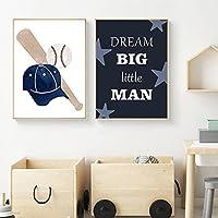 キャンバス絵画野球ゴルフスポーツウォールアート北欧のポスターとプリント壁の写真キッズルームの家の装飾50x70cmx2フレームレス