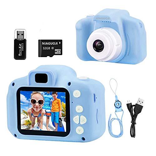 NIAGUOJI Cámara para niños, Mini cámara Digital Recargable para niños, videocámara de Video, Regalos para niños de 3 a 8 años, niñas, (Tarjeta de 32 GB incluida)