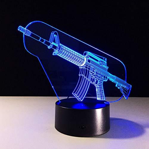 LLZGPZXYD Cool 3D Machine Gun LED-nachtlampje met sfeerlicht, 7 soorten kleurverandering, als geschenk Touch Switch