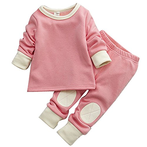 Baby Toddler Girls Winter Pyjamas Set Fleece Lined Long Sleeve Thermal Underwear Casual Tracksuit Clothing Set Pink