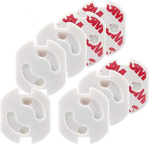 20 Piezas Protector Enchufes Seguridad Infantil Con Mecanismo De Giro Y Adhesivo 3M enchufe Copia de seguridad para bebés y niños Seguridad Infantil Protector de Enchufe, Blanco