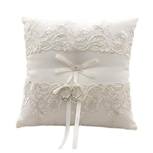 Amajoy Ivory Wedding Ring Pillow Ring Cushion with Lace Flower , 8.2 Inch (21cmx 21cm) Ring Bearer for Beach Wedding, Wedding Ceremony