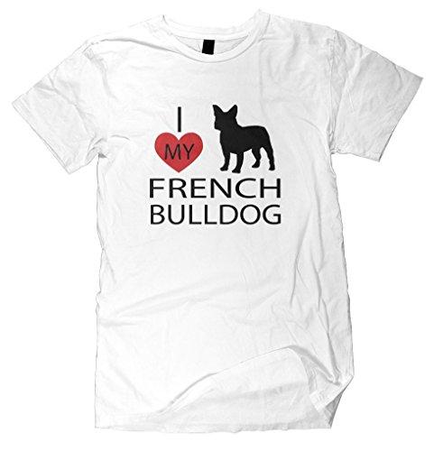 T-Shirt Men I Love My French Bulldog Shirt Cotton Short Sleeve
