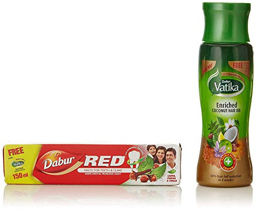 Dabur Vatika Enriched Cocount Hair Oil, 150 ml with free Dabur Red Tooth Paste 50g