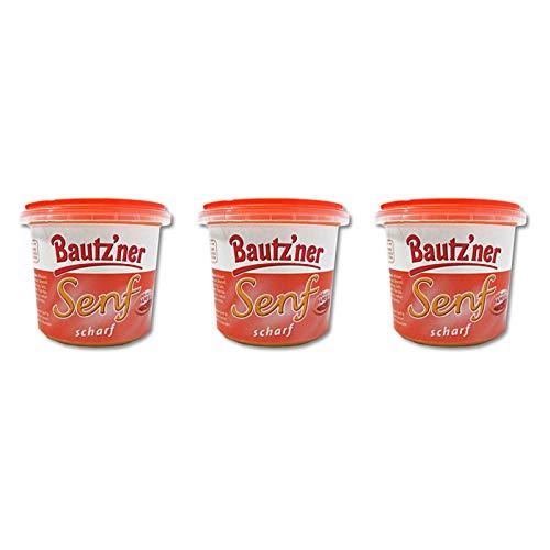 3er Pack Bautzner Senf scharf im Becher (3 x 200 ml) Senfbecher, Bautzner Spezialitäten