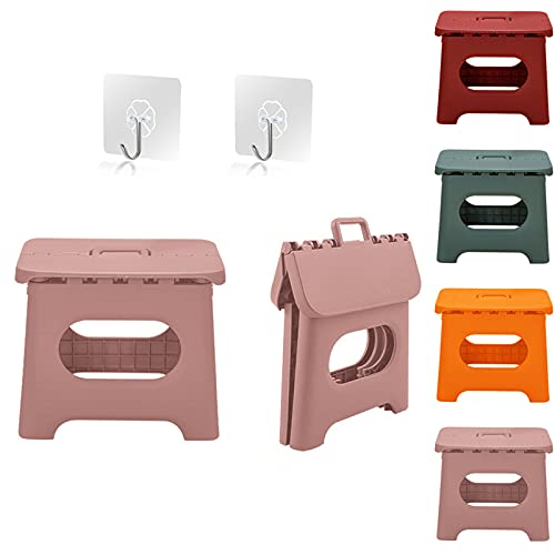 QILESUNNY 2021 Upgrade 10 inch Folding Step Stool ,Plastic Folding Stool with Handle,Portable Collapsible Small Foot Stool for Adults,Kitchen Garden Bathroom Step Stools (Pink)