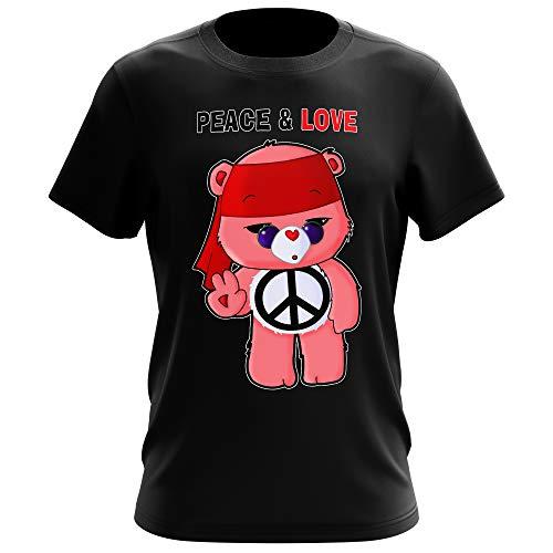 T-Shirt Homme Noir Parodie Bisounours - Bisounours - Peace and Love ! (Chibi Version) (T-Shirt de qualité Premium de Taille 3XL - imprimé en France)