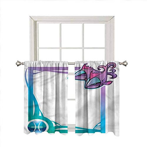 Zodiac Pisces Blackout Curtain Window Valances,Colorful Sketch Frame Short Straight Drape Valance for Living Room Kitchen Bedroom,Rod Pocket,Matching Curtain Panels,42 x 36 Inch,2 Panels