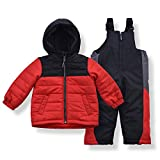 Arctic Quest Toddler Boys Color Block Snowsuit Fleece Lined Hooded Jacket and Bib Set, Red, 2T