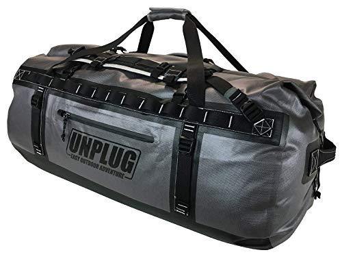 Unplug Borsone Viaggio – Borsa Impermeabile 1680D per Canottaggio, Motociclismo, Caccia, Campeggio, Kayak o Jet Ski. Proteggi i Tuoi Oggetti in Qualunque Condizione (Grigio, 155L)