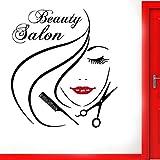 fancjj Peluquería Ventana de Cristal Puerta de Vinilo Pegatina Salón de Belleza Cara de Mujer Estilo de Peinado Calcomanía de Pelo DIY Decoración de la habitación 42X47CM