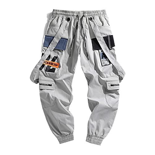 Pantalones deportivos de ocio para hombre, pantalones de carga de pie, pantalones de impresión, Gris, X-Large