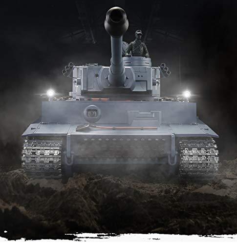 Carro Armato RC Tigre Duits I Kleur grijs 1: 16 2.4ghz, (360-graden rotatieturn) (stuwbak van staal) (3800 mAh) (metaal, rondsel en spanband)