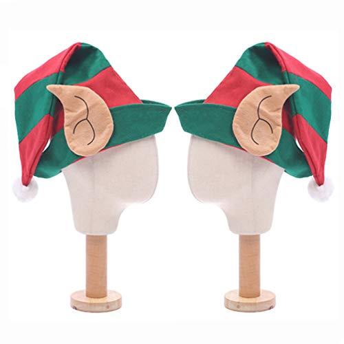 Toyvian 2 Piezas Sombrero de Duende con Orejas Gorro de Elfo Sombrero de Navidad Disfraz de Navidad para Niños Adultos