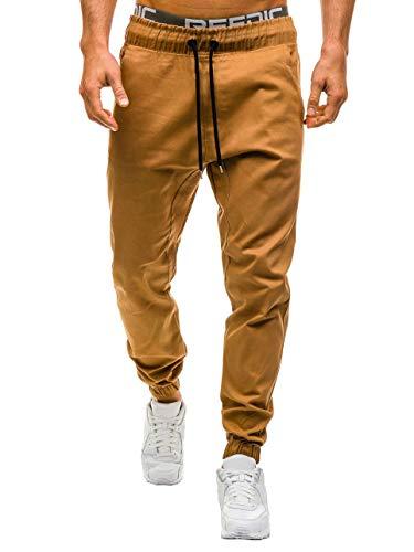 ShallGood Hombre Verano Pantalones Sueltos Playa con Bolsillos Laterales Casuales Transpirable Cargo Slim Jogging Casual Pantalones con Cordón