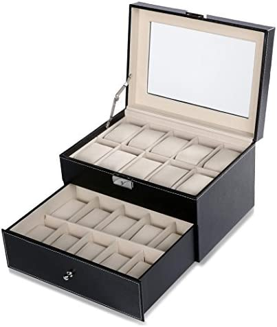 Uhrenbox Uhrenkoffer für 20 Uhren Uhrentruhe Uhrenkasten Uhrenschatulle