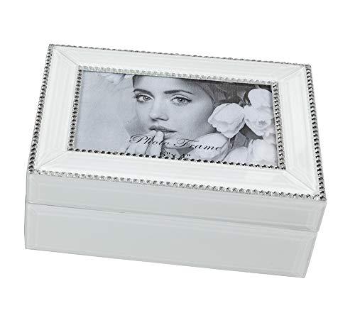 Coffret à bijoux coffret à bijoux 20 x 15 cm avec cadre photo pour bagues, bracelets, boucles d'oreilles, chaînes ou montres