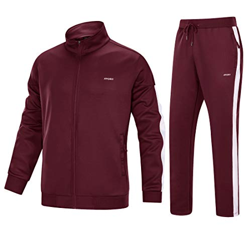 MAGNIVIT Warm Up Suits for Men Basketball Soccer Tracksuits 2 Piece Wine Red