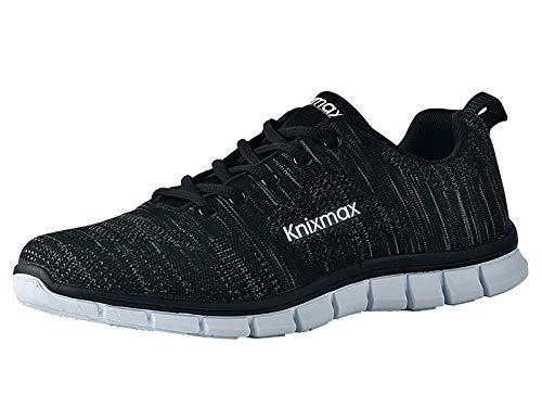 Knixmax Herren Damen Laufschuhe Sneaker Leicht Bequem Atmungsaktiv Sportschuhe Turnschuhe Outdoor Fitnessschuhe Knit Schwarz Herren Gr.43 EU