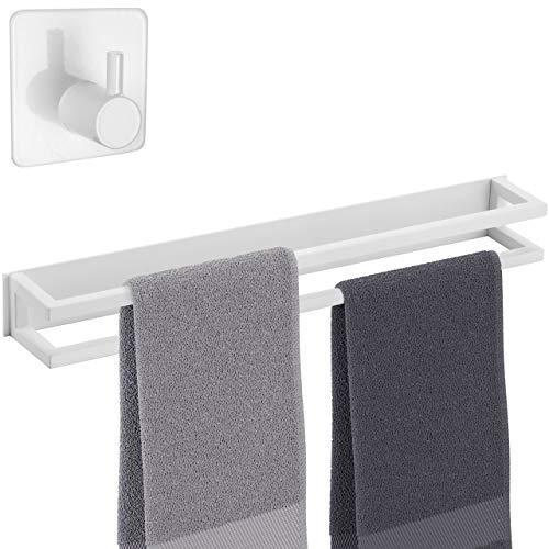 smartpeas toalleros de baño Adhesivo Dobles – toallero de Bano sin Taladro Acero Inoxidable Recubierto en Polvo Blanco + Gancho