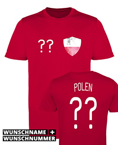 Comedy Shirts - Polen Trikot - Wappen: Klein - Wunsch - Herren Trikot - Rot/Weiss Gr. XL