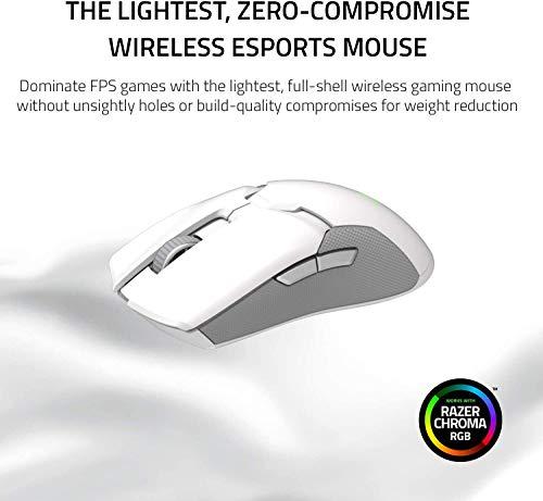Razer Viper Ultimate Mouse da gioco wireless, ambidestro, cablato con sensore ottico, 16.000 DPI e gli interruttori mouse, illuminazione cromatica RGB - Mercury / Bianco
