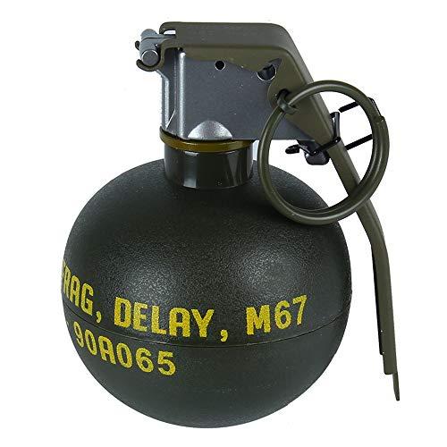 M67 新型手榴弾モデル 跳ね出す機能付き ダミー グレネード 破片手榴弾 ナイロンプラスチック装飾 室外活動必要品 撮影道具 いたずら道具 (ミリタリーグリーン)